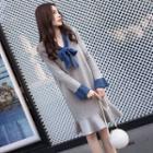 Contrast Trim Ruffle Hem Long-sleeve Knit Dress