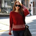 Wool Blend Patterned Knit Top