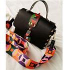 Patterned Strap Studded Shoulder Bag