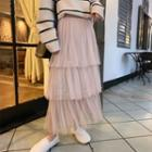 Maxi Tiered A-line Skirt