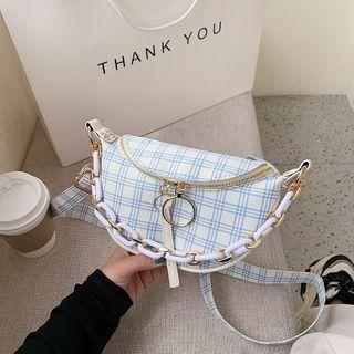 Plaid Cotton Sling Bag