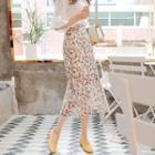 Floral Chiffon Midi Mermaid Skirt