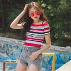 Raglan-sleeve Stripe Slim-fit Top