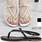 Strappy Genuine-leather Flat Sandals