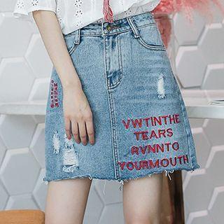 Lettering Ripped Denim Skirt