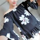 Floral Print Off-shoulder Chiffon Top