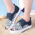 Peep-toe Leopard-print Platform Sneakers