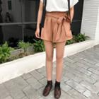 Elastic Waist Lace Up Shorts