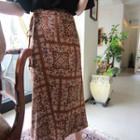 Tie-waist Patterned Maxi Skirt