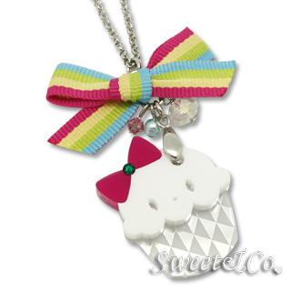 Rainbow Ribbon Swarovski Miss Cupcake Necklace Silver - One Size