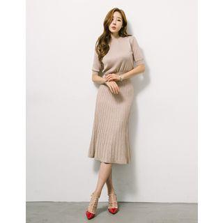 Set: Round-neck Glittered Top + Band-waist Pleated Skirt