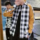 Checked Paneled Shirt Jacket