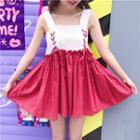 Ruffled Lace-up Sleeveless A-line Dress