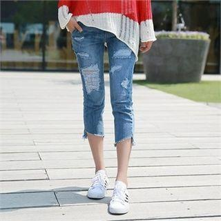 Band-waist Cropped Skinny Jeans