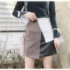 Panel A-line Faux Leather Skirt