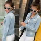 Washed Distressed Buttoned Denim Jacket