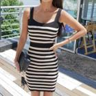 Sleeveless Stripe Knit Bodycon Dress
