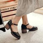 Ankle Strap Perforated Block Heel Pumps