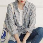 Dual-pocket Plaid Shirt Blue - One Size