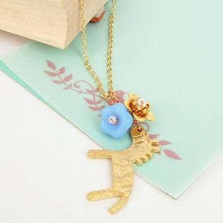 Golden Little Horse And Flowers Necklace