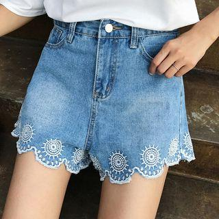 Embroidered Scallop Trim Denim Shorts