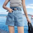 Pocketed Wide-leg Denim Shorts