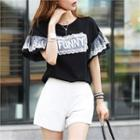 Funny Lace-panel T-shirt