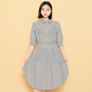 3/4-sleeve Striped Shirtdress With Sash
