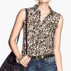 Leopard Print Sleeveless Blouse