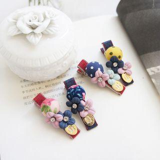 Fabric Bead & Flower Hair Clip