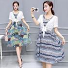 Set: Blouse + Printed Dress