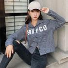 Pinstriped Letter Embroidered Shirt