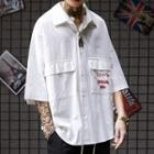 Pocket Detail Elbow-sleeve Shirt