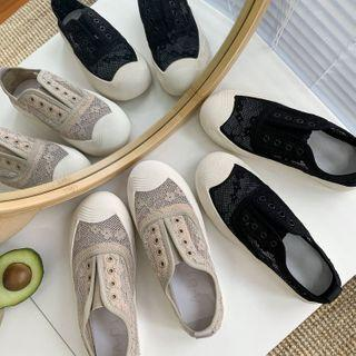 Mesh Panel Laceless Sneakers