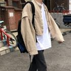 Band Collar Cropped Jacket