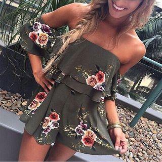 Floral Off Shoulder Playsuit