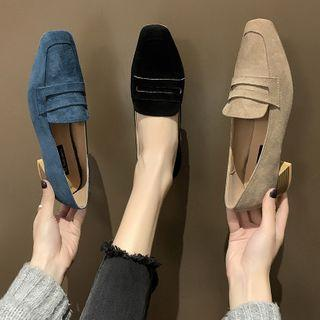 Faux Suede Block Heel Penny Loafers