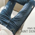 Paint-splatter Distressed Washed Skinny Jeans