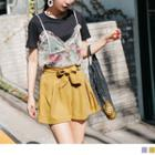 Bow Accent Pleated Shorts