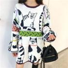 Cat Printed Knit Top White - One Size