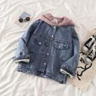 Fleece Hooded Denim Jacket