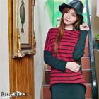 Crew Neck Batwing Striped Top