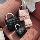 Faux Pearl Quilted Faux Leather Crossbody Bag