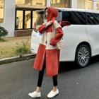Faux Shearling Panel Buttoned Hooded Coat Red - One Size