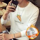 Fleece Lined Carrot Print Long-sleeve T-shirt