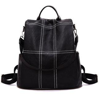 Convertible Contrast Stitch Faux Leather Backpack Black - One Size
