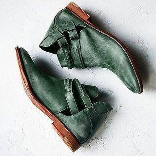 Block Heel Cutout Short Boots