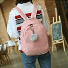 Pompom-accent Canvas Backpack