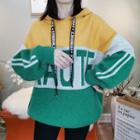 Lettering Color Block Hooded Sweater As Shown In Figure - One Size