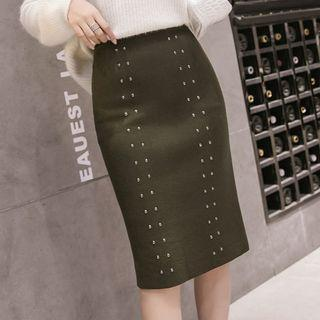 Studded Knitted Pencil Skirt